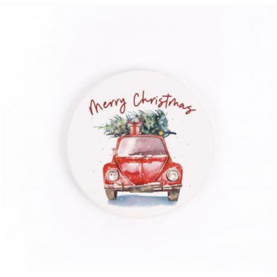Merry Christmas Red Truck Car Coaster