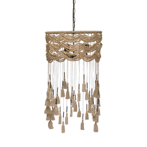 Pendant Lamp w Metal Tubes & Cotton Tassel