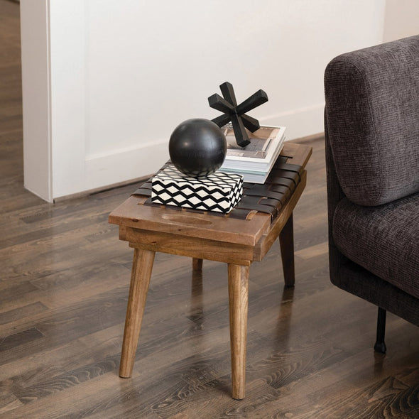 Wood Stool with Woven Leather Top