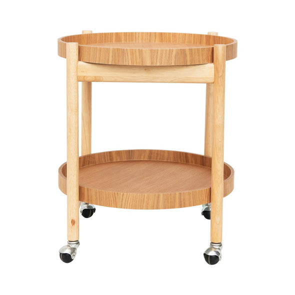 Rubber Wood Bar Cart With Removable trays