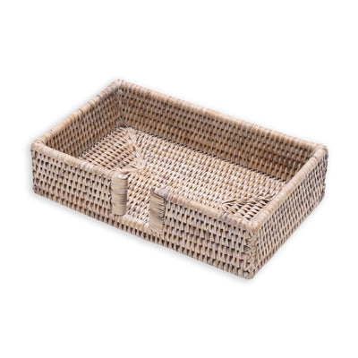 Guest Napkin Holder - White Rattan - Opal and Olive