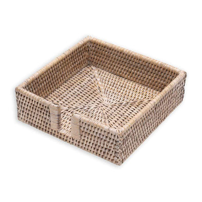 Rattan Luncheon Napkin Holder - White