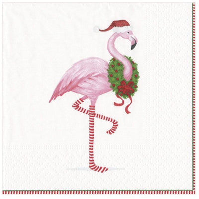 Cocktail Napkin - Christmas Flamingo - Opal and Olive