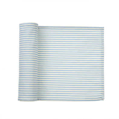 Blue Ticking Table Runner - Opal and Olive