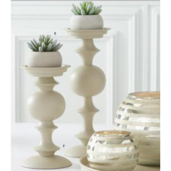 Ivory Matte Metal Candleholders
