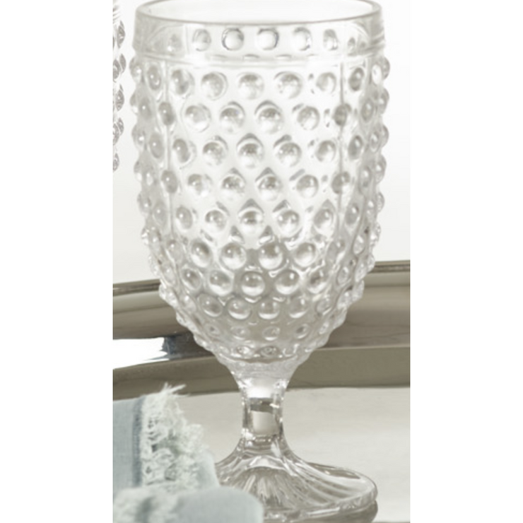 Hobnail Goblet Glass - 13.53oz - Opal and Olive