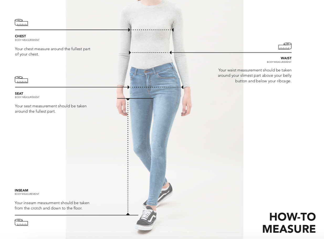 SIZE GUIDE WOMENS WEAR DR DENIM