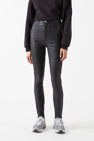 MOXY JEANS - Black Metal Faux Leather