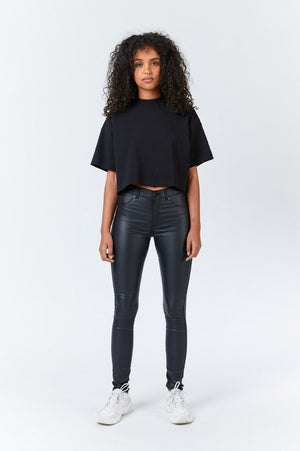 PLENTY JEANS - Black Metal Faux Leather