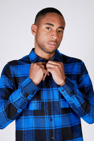 LUKE SHIRT - Buzzing Blue Check
