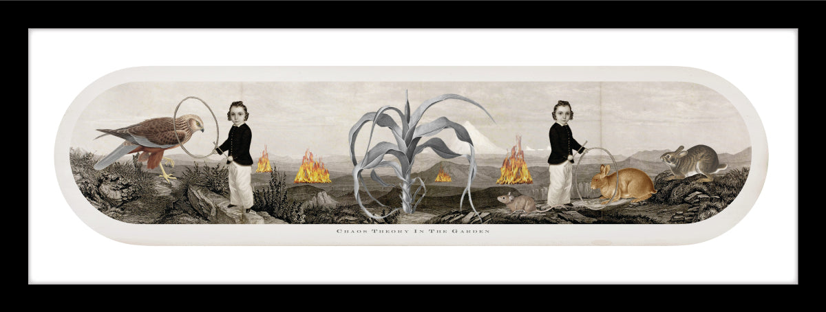 old world collage with sepia tone landscape, burning fires, a corn stalk in the center. two children with old world hoops and stick, interacting with a hawk and wild hares.