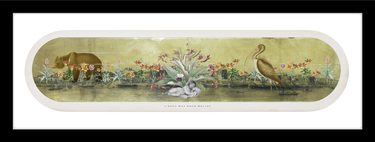 old world collage with botanical flowers, Cherub and Heron and bear.