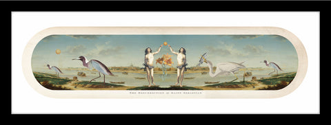 collage with old world images of Lillies, herons, St Sebastian, Scenic landscape.