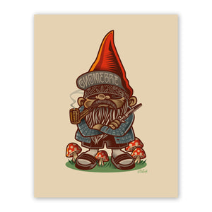Gnomebre on Grass with Mushrooms Fine Art Print