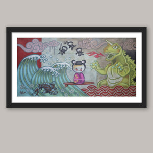 Japanese Surfer Girl with Ninjas Fine Art Print