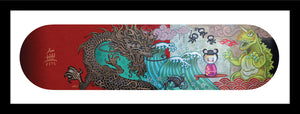 skateboard art with Godzilla, dragon and Japanese surfer girl in a kimono. 3 little ninjas are floating in the air