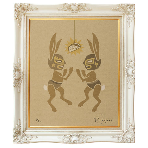 Two luchador mask wearing rabbits fighting over a taco. Low brow art print on giclee paper.