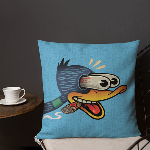 Wood Duck with Cigar Premium Pillow - Choice Goods Gallery