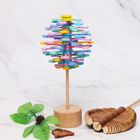 Wooden Helicone Magic Wand Stress Relief Toy Rotating Lollipop