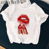 T Shirt Red Lips and Shoes