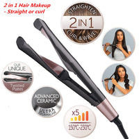2- in-1 Hair Curler and Straightener