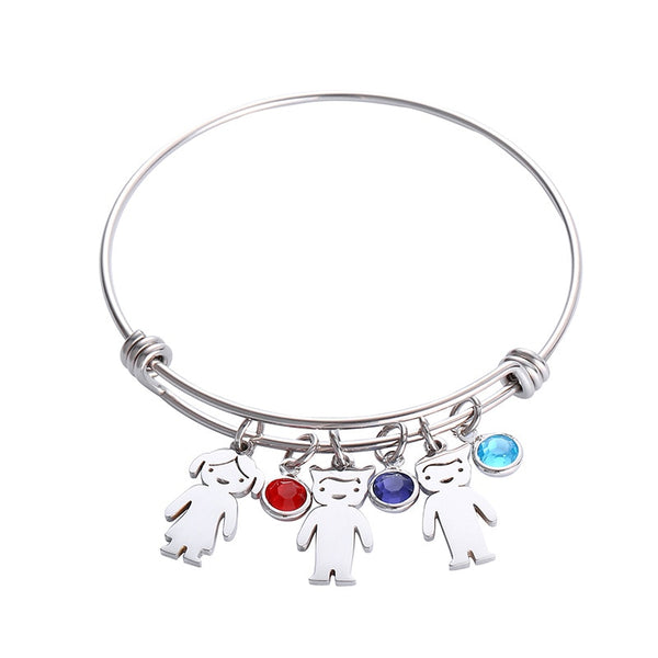 Mothers Day Gift Bracelet With Kids Charms