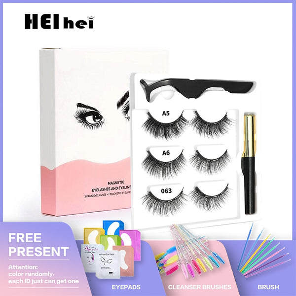 Magnetic Eyelashes And Eyeliner Set - 3 Pairs / Set