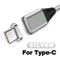 2m Magnetic Cable 2.4A Micro USB Type C Fast Charger Magnet