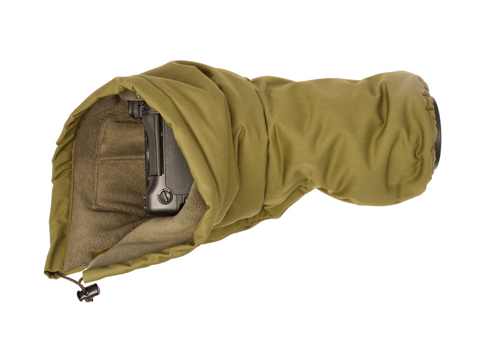 Waterproof and insulated camera and lens covers, camera protection and camera camouflage, camera rain covers, dust and snow covers. Our 'Four Season' camera covers reduce battery drain & shutter sound. We first designed our heated camera covers for use by the British forces. The cover has four layers of technical fabrics including a fleece lining with a heat pack pocket, ideal for nature photography, wildlife photography and outdoor photography protecting your outdoor photography gear and long lenses.