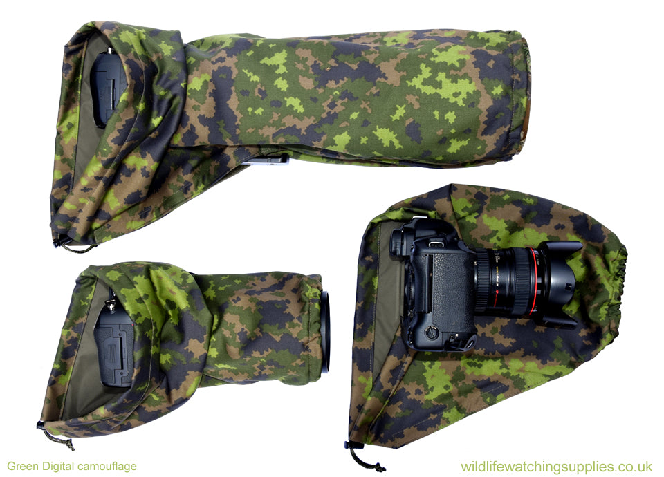 DOUBLE LAYER Reversible camera and lens cover with proofed polycotton on one side and waterproof matt olive pu nylon on the other. Available in a range of camouflage patterns or plain olive green. Keeps you going while other photographers have packed their kit away. Green Digital camouflage.