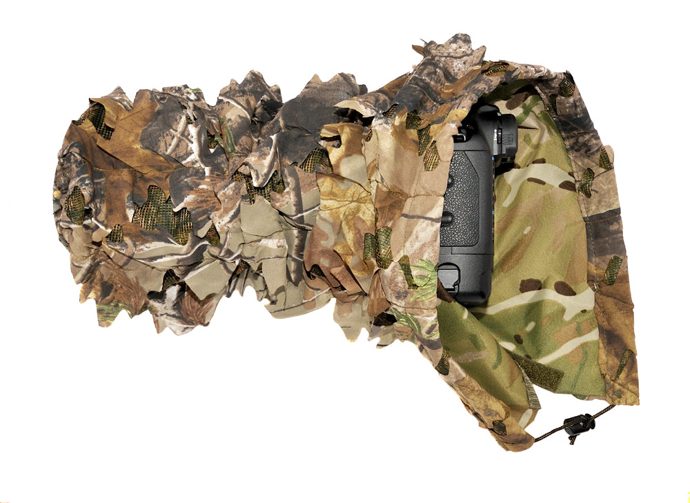 Our Leafy 3D camouflage camera and lens covers are used by the British forces and NATO. The Leafy camera covers are waterproof and will protect your kit in the harshest conditions. Our camera covers are reversible and can be used with the waterproof 'All Terrain' as the main side.
