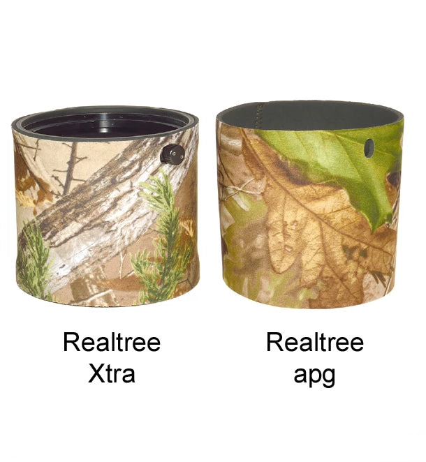 Realtree neoprene lens hood covers for camouflage and protection against knocks and scrapes. Keep your lens hood protected and in good condition as well as excellent camouflage for wildlife photography. Made in the UK by wildlife watching supplies