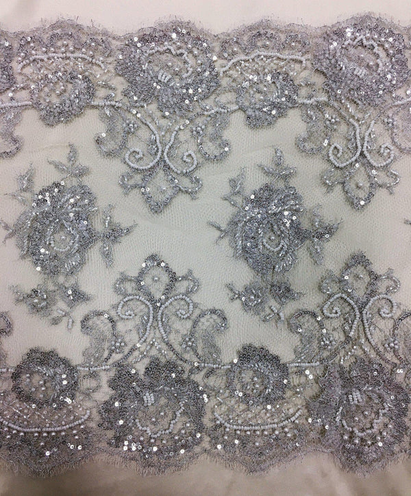 Fine Chantilly Lace Trim (1131bt) Silver