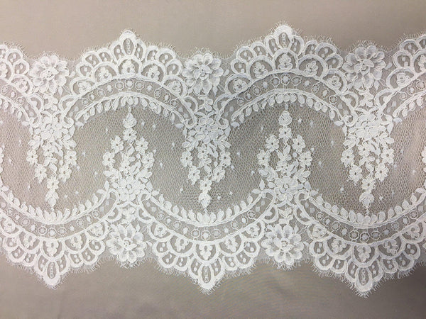 Fine corded lace trim (1268t) Ivory