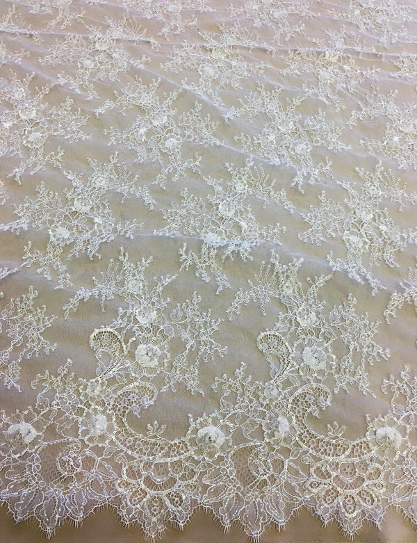 Beaded fine lace (1293bd) White