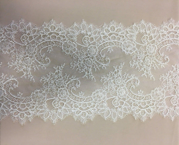 Beaded fine lace trim (1294t) Light Ivory