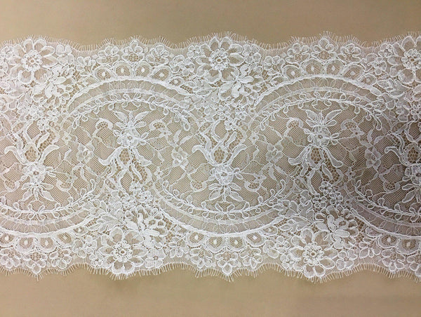 Fine corded lace trim (1308t) White