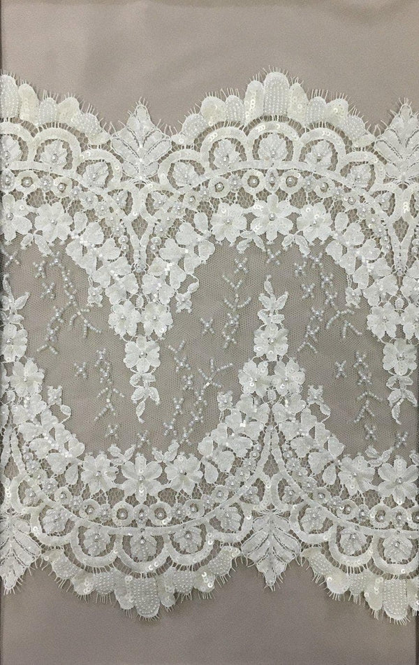 Beaded Lace Trim (1375bt) Ivory