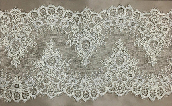 Floral Corded Lace Trim (1379T) Ivory