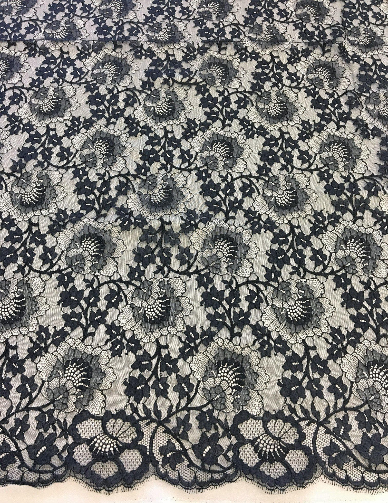 Black embroidered organza lace sold by the metre