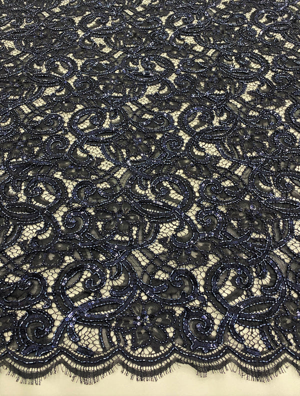 Fine Two-Toned beaded Lace (1434BD) Black Navy