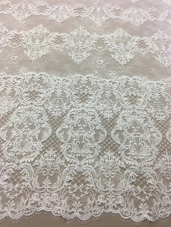 Textured  Fine Lace (1435) Ivory