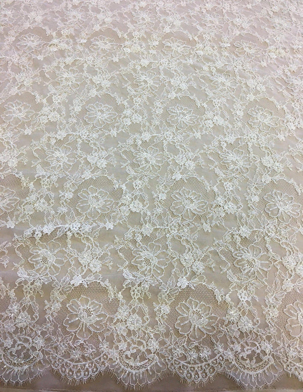 Beaded Floral Lace (1485bd) Ivory