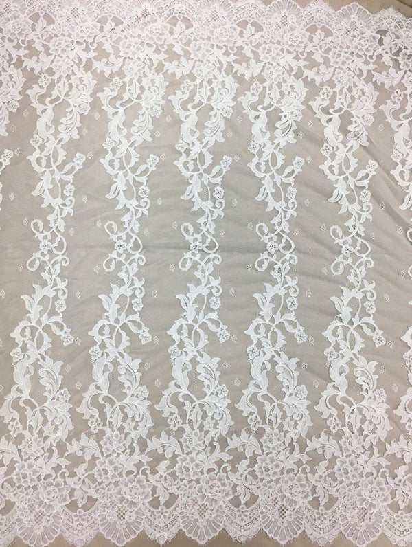 Corded Floral Lace (1575) White
