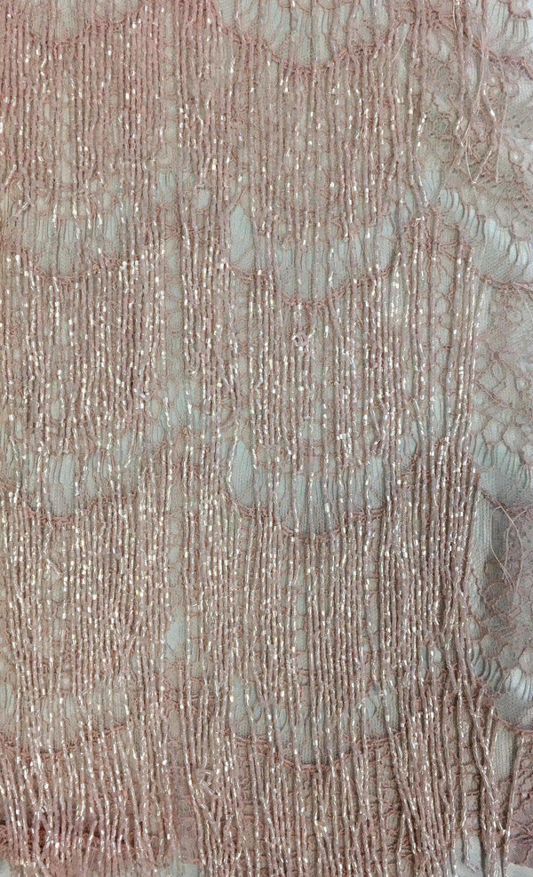 Beaded Fringe Lace (1587bd) Dusty Pink