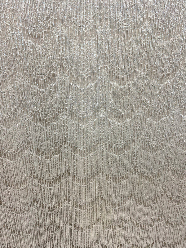 Beaded Fringe Lace (1587bd) Ivory