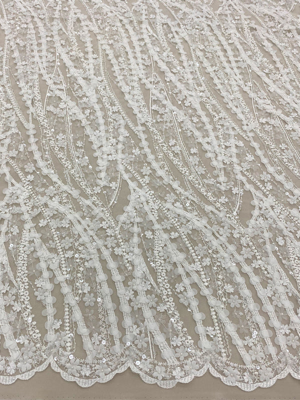 3-D Beaded Lace (1593bd) Ivory
