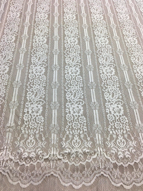 Linear Floral Lace (1601) Ivory