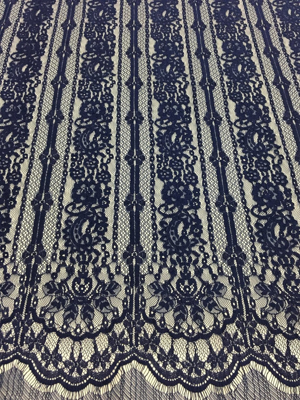Fine Linear Lace (1601) Navy