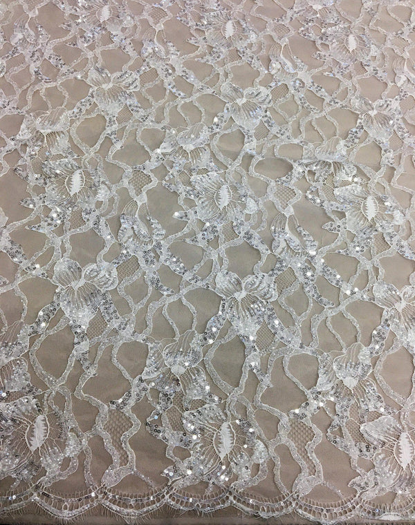Hand Beaded Floral Lace (1615bd) Ivory